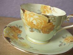 Antique tea cup, #vintage 1940s Aynsley bone china tea cup, yellow roses tea cup and saucer set, English tea set. $45.00, via Etsy.