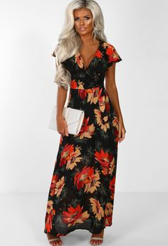 5fcf1d21ef467 Zintara Black Floral Frill Wrap Maxi Dress | Pink Boutique Black Floral  Maxi Dress, Maxi. Pink Boutique UK