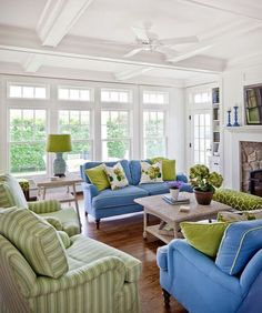 green and blue decorating - Bowley Builders via Houzz