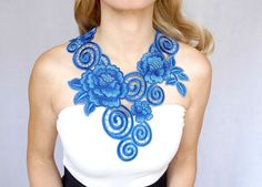 SALE gorgeous blue flower lace bib necklace//embroidery lace collar // gold chain necklace//statement necklace // lace top // gift for her