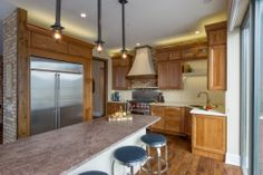 Spacious #kitchen with island in this Chicago #penthouse #loft.