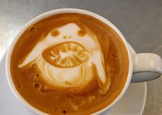 Are you scared of our Latte Shark?!  Having some fun during #SharkWeek