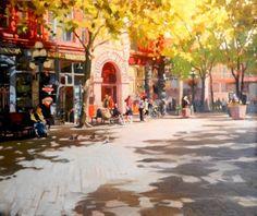 Pioneer Building Seattle city, urban oil painting by Robin Weiss., painting by artist Robin Weiss