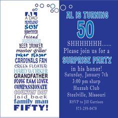 50th Birthday Invitations via Etsy