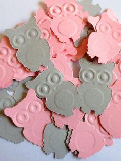 125-Pink and grey owl confetti-punched owls-Multi color-scrapbook die cuts-owl punches-paper owls-baby shower decorations girl-embossed-cute