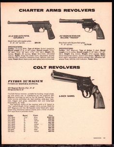 1981 COLT PYTHON Revolver AD w/ Charter Arms Explorer II & BulldogLoading that magazine is a pain! Get your Magazine speedloader today! http://www.amazon.com/shops/raeind