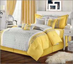 Yellow and gray wall decor gray and yellow decor gray and yellow bedroom yellow bedroom decor engaging grey and yellow wall decor gray images navy gray and Yellow Comforter Set, Comforter Sets, Grey Comforter, King Comforter, Bed Sets, Design Your Home, Diy Design, Design Ideas, Interior Design