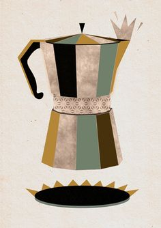 Late Night Coffee (by Kata Illustration): black, grey, olive, dull turquoise
