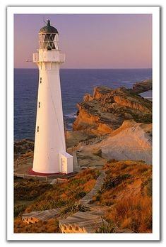 Castle Point Lighthouse is a lighthouse near the village of Castlepoint in the Wellington Region of the North Island of New Zealand. It is owned and operated by Maritime New Zealand. Lighthouse Pictures, Beacon Of Light, Am Meer, Places To See, New Zealand, The Good Place, Beautiful Places, Castle, Around The Worlds