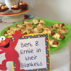 Sesame Street Party Food: Bert and Ernie in Their Blankets.