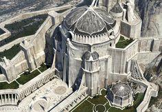 League of Legends - Demacia - Citadel Fantasy City, Fantasy Castle, World Of Fantasy, Fantasy Places, High Fantasy, Medieval Fantasy, Sci Fi Fantasy, Concept Art World, Fantasy Concept Art