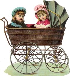 Oblaten Glanzbild scrap die cut Kinderwagen  13,5cm Kind child pram Mädchen