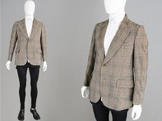 Vintage 60s 70s Plaid Blazer Pure Wool Jacket by ZeusVintage