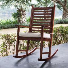 Have to have it. Belham Living Eucalyptus Wood Rocking Chair with Cushion - Walnut - $199.98 @hayneedle