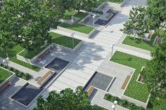 Landscape Plaza, Landscape Architecture Design, Urban Landscape, Outdoor Restaurant Design, Restaurant Interior Design, Plaza Design, Terrace Design, Green Corridor, Residential Complex