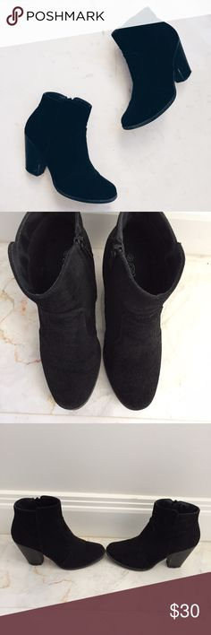 • Black Suede Ankle Booties • Very comfortable ankle booties in black suede. Suede is in pretty good condition. Scuffs on heels (see pics). Size 6 1/2. Shoes Ankle Boots & Booties