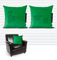Noteme Pillow. Write and erase!
