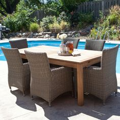 Whitman Extension Patio Dining Set with All-Weather Wicker Chairs- Seats 6 $1599.98