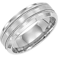 7mm comfort fit wedding band with beveled edge and satin finish by Diana