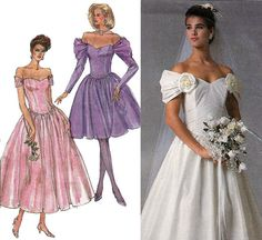 80s Wedding Dress Pattern Simplicity 8413 by allthepreciousthings
