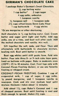 Fun Baking Recipes, Old Recipes, Vintage Recipes, Cake Recipes, Original German Chocolate Cake Recipe, Bakers German Chocolate Cake, Banana Dessert, Pie Dessert, Fun Desserts