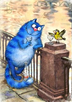 """Просмотреть иллюстрациюРина З. - На Фонтанке. Из серии """"Котики в Питере"""""""
