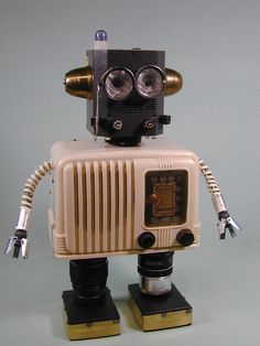 """""""BROADCAST"""" Found Object Robot Sculpture Assemblage Sally Colby Vintage Radio"""