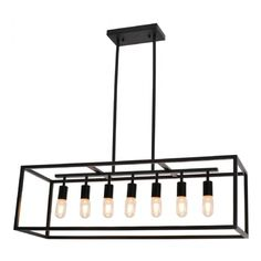 Linear black pendant light, can be installed on an island or in the dining room. Black Pendant Light, Bar, Kitchen Lighting, Decoration, Retro, New Homes, Chandelier, Bronze, Ceiling Lights