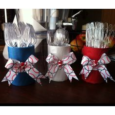 Made these to hold the cutlery for our Baseball Baby Shower this weekend out of empty vegetable cans, tissue paper and ribbon!!