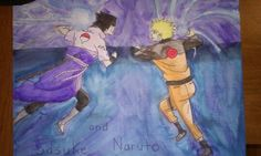 I drew and painted Sasuke and Naruto's battle, which was inspired from an image I found here on Pinterest! I don't own these two characters (I wish , I jest.) Hope you like it!  - Ari  P.s. The quality isn't the greatest because of my phone's camera quality. Sorry about that!