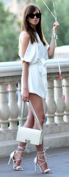 #summer #trendy #outfitideas White Bare Shoulder Romper
