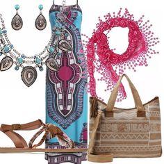 Un outfit giovane e alla moda. Abito lungo azzurro con spalline in una bella fantasia colorata. Stola in tinta, sandalo basso in cuoio con frange e penne, shopping bag con tracolla. Collana ed orecchini di sapore etnico con pietre turchesi.