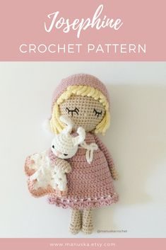Crochet doll pattern, amigurumi doll pattern, Manuska pattern