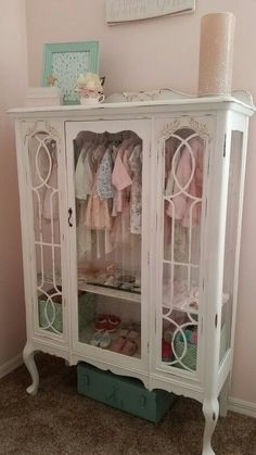 DIY - Repurposed China Hutch Displaying Little Girls Clothes.Great Addition to a Nursery! Its a Labor of Love Using Annie Sloan Chalk Paint. More - Baby Nursery Today Refurbished Furniture, Repurposed Furniture, Furniture Makeover, Diy Furniture, Repurposed China Cabinet, Painted Furniture French, Painted Nursery Furniture, Refinished China Cabinet, Painted China Hutch