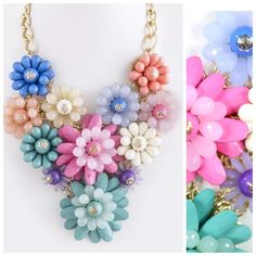 "D27 Statement Acrylic Flower Bold Color Necklace ‼️PRICE FIRM‼️   Acrylic Flower Necklace  WOW!!!!! What a gorgeous necklace.  Acrylic bold color cluster flowers with gold metal accent.  Sure to dress up even the most basic outfit!  Up to 20"" long including a 3"" extender chain. Lobster clasp. Flower cluster measures 7.5"" x 7.5"" Boutique Jewelry Necklaces"