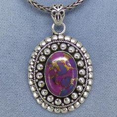 Mojave Purple Copper Turquoise Artisan Necklace Sterling Silver