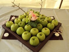 The apple arrangements in their custom centerpieces...aren't they beautiful?