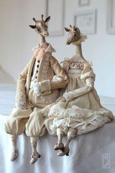 Купить на озере Чад... - бежевый, жирафы, пара, счастье, интерьерная кукла, интерьерная игрушка