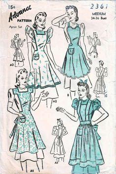 Vintage Apron Pattern, Vintage Sewing Patterns, Retro Apron Patterns, Pattern Sewing, Pattern Drafting, Pdf Patterns, Crochet Patterns, Vintage Outfits, Fashion Vintage