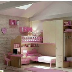 Great idea for 2 girls Kid Beds, Bunk Beds, Cool Loft Beds, Cute Bedroom Ideas, Little Girl Rooms, Double Beds, New Room, Home Organization, My Dream Home