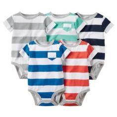 Baby+Boy+Carter's+5-pk.+Striped+Bodysuits
