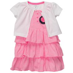 Carter's Infant & Toddler Girl's 3 Pc Striped Cardigan Dress & Bloomer Set Pink Newborn