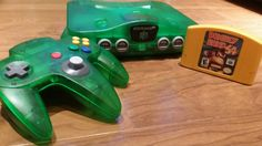 Jungle Green Nintendo 64 n64 console system Donkey Kong 64 + expansion pak, funtastic, jungle green Nintendo 64 console - pinned by pin4etsy.com