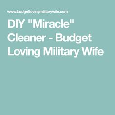 """DIY """"Miracle"""" Cleaner - Budget Loving Military Wife"""