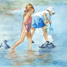 playing in the water... Watercolor