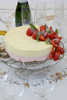 strawberry decoration on a cheese cake