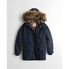 Hollister Faux-Fur-Lined Twill Parka (£67) ❤ liked on Polyvore featuring men's fashion, men's clothing, men's outerwear, men's coats, navy, mens hooded coat, mens twill coat, mens parka coats and mens navy coat