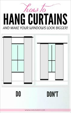 hang curtains to make ANY window look bigger! Great tips in this post, including DIY curtain ideas!to hang curtains to make ANY window look bigger! Great tips in this post, including DIY curtain ideas! Floral Curtains, Hanging Curtains, Drapes Curtains, How To Hang Curtains, Two Tone Curtains, Small Curtains, French Curtains, Purple Curtains, Short Curtains