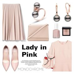 """""""Lady in Pink!"""" by pearlparadise ❤ liked on Polyvore featuring Banana Republic, Roksanda, Royalty Collection, Kate Spade, Bobbi Brown Cosmetics, Essie, contestentry, pearljewelry, pearlparadise and monochromepink"""