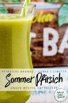 Wir starten mit einem gesunden Saft in die neue Woche nach einem Schlemmer-Wochenende. Und zwar mit unserem besten Saft bisher: Rezept für einen frisch gepressten, unglaublich leckeren Saft mit Pfirsich, Nektarine, Ananas, Gurke und Limette. Der Saft ist gesund, macht satt und eignet sich gut gekühlt auch perfekt als alkoholfreier Sommer-Cocktail #saft #frischgepresst #rezept #detox #abnehmen #cocktail #alkoholfrei